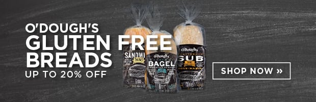 Save 20% on O'Dough's Gluten Free Buns and Bagel Thins this week at SPUD.ca