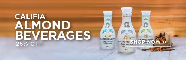 Save 25% off the great tasting Almond Beverages from Califia Farms, this week at SPUD.ca