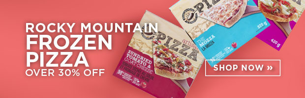 Save over 30% on Rocky Mountain Flatbread Frozen Pizzas this week at SPUD.ca