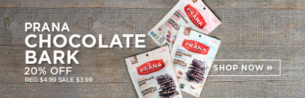 Save 20% on Organic Chocolate Barks from Prana, this week at SPUD.ca