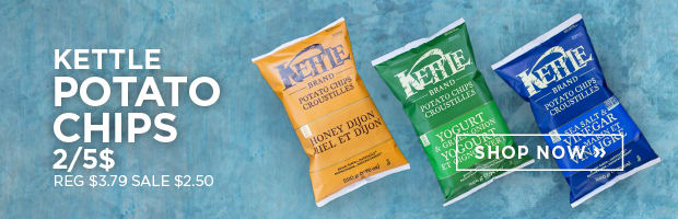 Get 2 bags of Kettle Chips for $5 this week at SPUD.ca