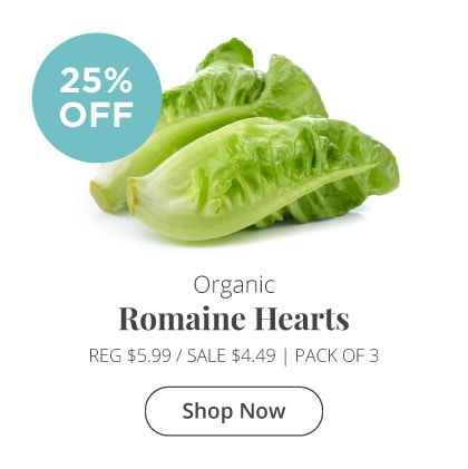 Organic Romaine Hearts 25% Off