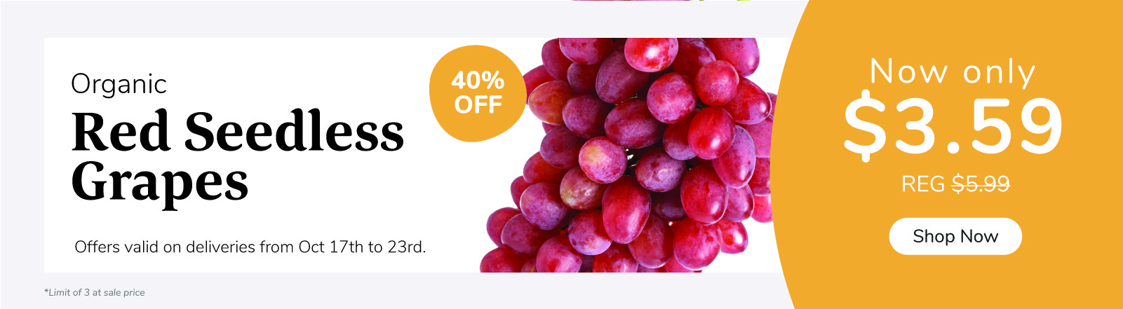 Organic Red Seedless Grapes on sale