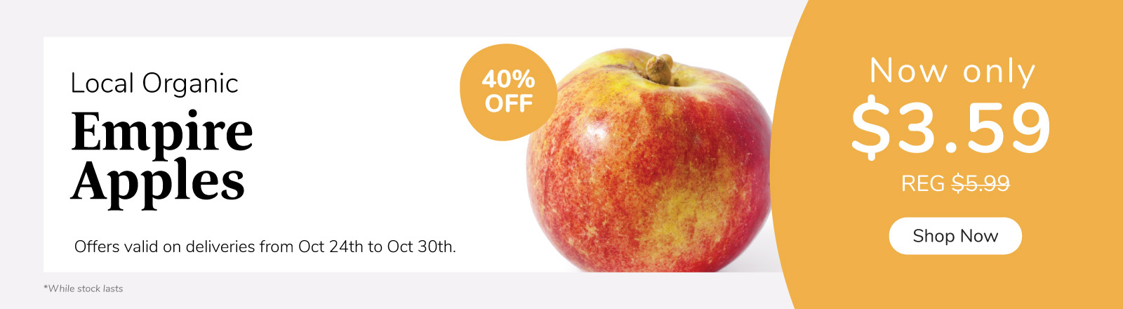 Hot Deal on organic local apples