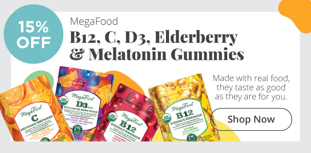 MegaFood B12, C, D3, Elderberry & Melatonin Gummies - 15% Off