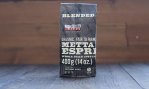 Organic Metta Espresso Dark Coffee, WHOLE BEAN- Code#: DR126