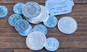 Dark Chocolate Gelt Coins - Blue/Silver- Code#: DE925