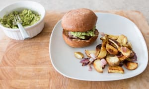 Guacamole Burgers with Roasted Sweet Potatoes- Code#: KIT0060
