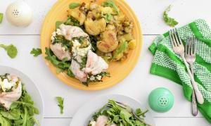 Arugula Chevre Stuffed Chicken with Garlic Smashed New Potatoes- Code#: KIT0079