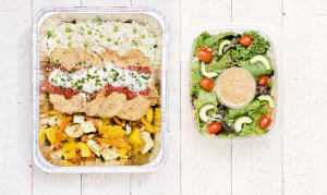 Free Run Chicken Parmesan with Healthy Orzo Pasta, Roasted Vegetables & Salad- Code#: LLK100