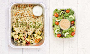 Greek Chicken with Rice Pilaf & Seasonal Mediterranean Vegetables & Salad- Code#: LLK102