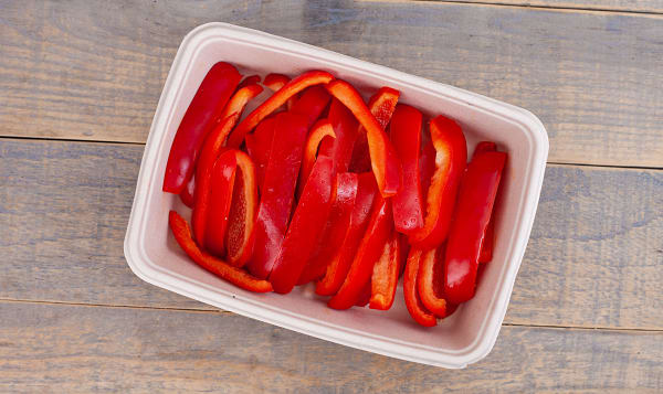 Organic Peppers, Red, Sliced