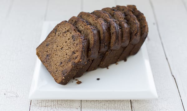 Chocolate Chip Banana Bread Loaf - Sliced