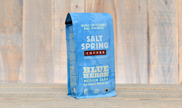 Organic Blue Heron Medium-Dark Coffee, Whole Bean