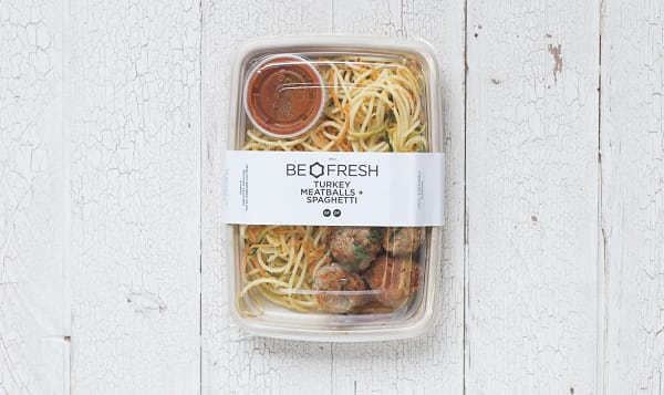 Turkey Meatballs with Fresh Herb Tomato Sauce, GF Pasta and Zucchini Noodles