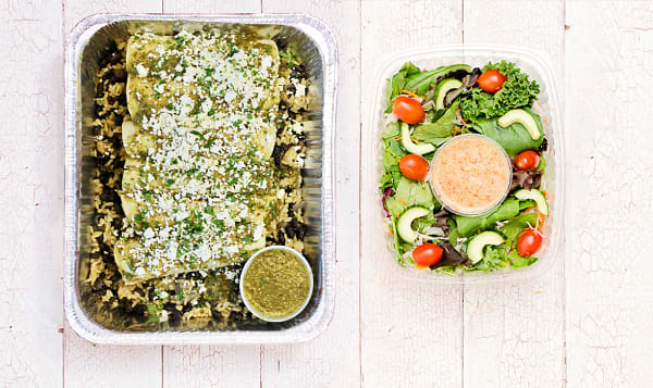 Roasted Chicken Enchiladas with Beans & Rice, Salsa Verde