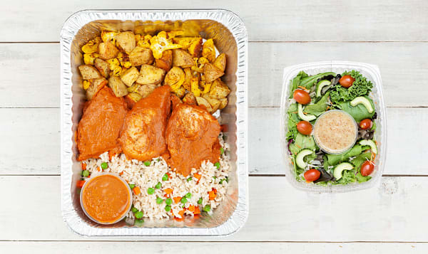 Butter Chicken with Turmeric Roasted Vegetables and Basmati Rice & Salad