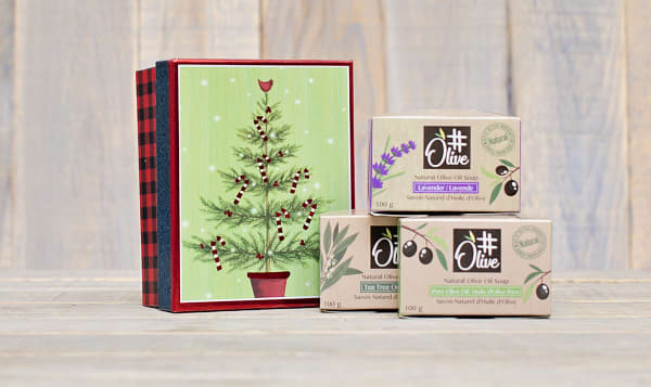 Holiday 3 Pack of Pure Olive Oil Soaps