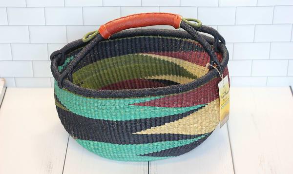 Handwoven African Basket, Round