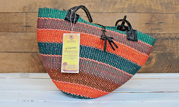 Handwoven African Basket, Shoulder