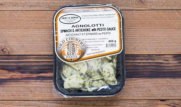 Spinach Artichoke Agnolotti with Pesto Sauce - Heat & Serve