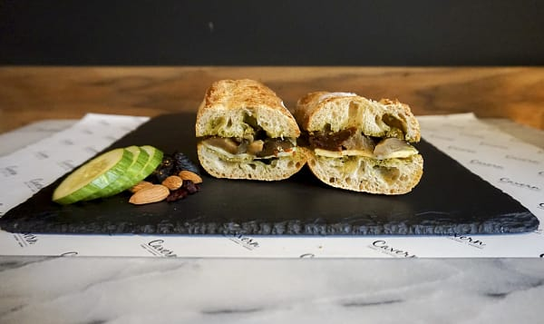 Basil Pesto + Grilled Eggplant + Cavern Selected Cheese + Sundried Tomato + Baguette
