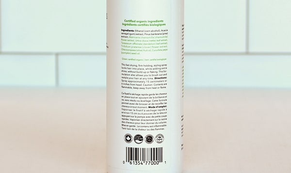 Organic Unscented Hair Spray