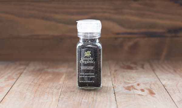 Organic Black Peppercorns in Glass Bottle with Adjustable Grinder