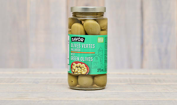 Colossal Halkidiki Green Cracked Olives