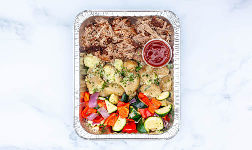 BBQ Pulled Pork with Roasted Vegetables, Garlic Smashed Potatoes & Salad- Code#: LLK0092