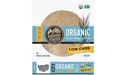 Organic Low Carb Whole Wheat Tortillas (Frozen)- Code#: BR0577