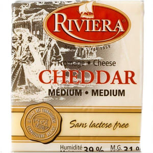 Medium White Cheddar Cheese, Lactose Free- Code#: DA3000