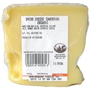 Organic Emmenthal Organic Swiss- Code#: DA3103