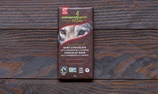 Wolf Bar - Dark Chocolate with Cranberries and Almonds- Code#: DE834