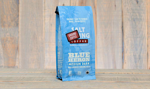 Organic Blue Heron 3/4 Medium, 1/4 Dark Coffee, Ground- Code#: DR159