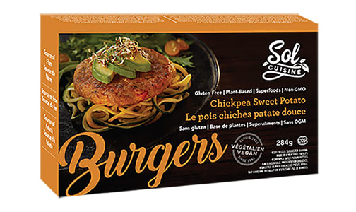 Chickpea & Sweet Potato Veggie Burgers (Frozen)- Code#: FD0055