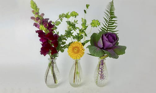 Assorted Seasonal Flowers in a Bud Bottle Vase- Code#: FF0077