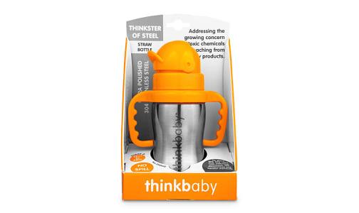 Stainless Steel Straw Bottle - Orange- Code#: HH0476