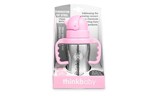 Stainless Steel Straw Bottle - Pink- Code#: HH0490