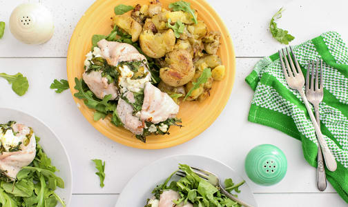 Arugula Chevre Stuffed Chicken with Garlic Smashed New Potatoes- Code#: KIT0079