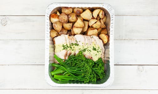 Mojo Pork Loin with Roasted Potatoes and Chili Glazed Broccolini (Frozen)- Code#: FZLL0077