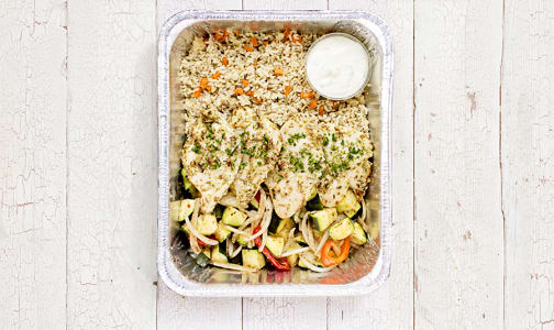 Greek Chicken with Rice Pilaf & Seasonal Mediterranean Vegetables- Code#: LL184