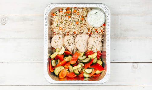 Greek Chicken with Rice Pilaf & Seasonal Mediterranean Vegetables (Frozen)- Code#: FZLL184