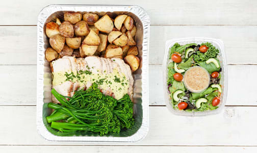 Mojo Pork Loin with Roasted Potatoes and Chili Glazed Broccolini & Salad- Code#: LLK0077