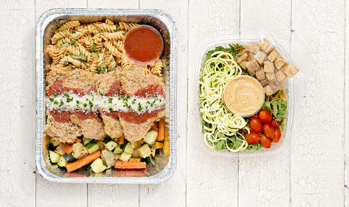 Free Run Chicken Parmesan with Rotini, Roasted Vegetables & Salad- Code#: LLK100