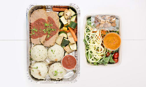 Dinner For 2 -Beef Lentil Meatloaf with Mashed Potatoes and Roasted Vegetables & Salad- Code#: LLK209
