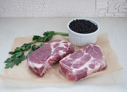 Natural Pork Shoulder Butt Steaks (Chuck Eye Steak) - 2 Steaks (Frozen)- Code#: MP061