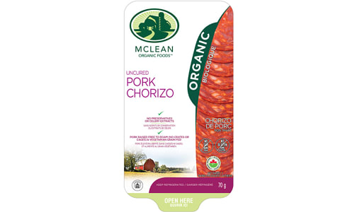 Organic Sliced Chorizo Salami- Code#: MP0828
