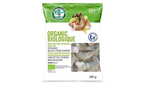 Organic Black Tiger Shrimp - Raw, EZ Peel, Deveined, Shell On (Frozen)- Code#: MP1172