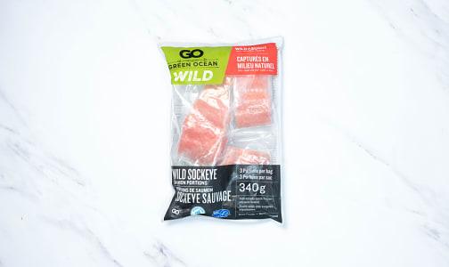 Wild Sockeye Salmon Portions - Skin On (Frozen)- Code#: MP1271